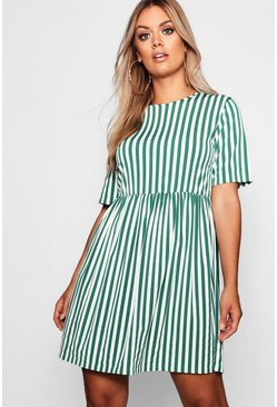 Womens Green Plus Striped Smock Dress