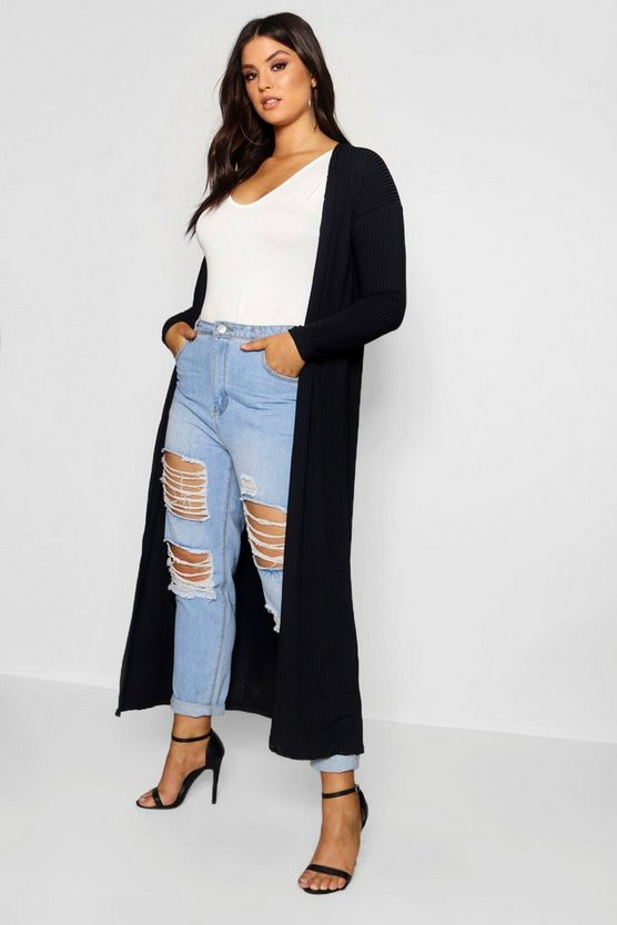 Womens Black Plus Rib Longline Long Sleeve Cardigan