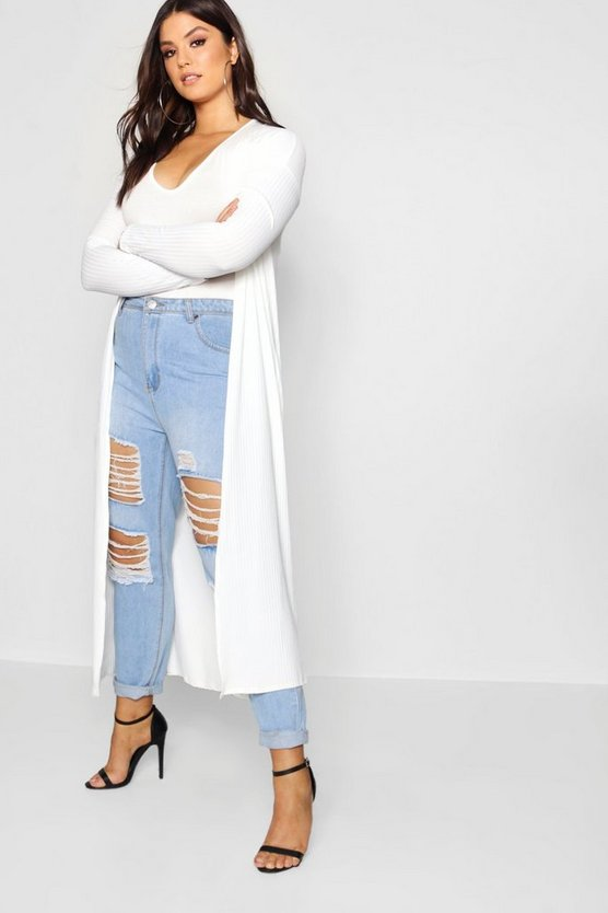 Plus Rib Longline Long Sleeve Cardigan