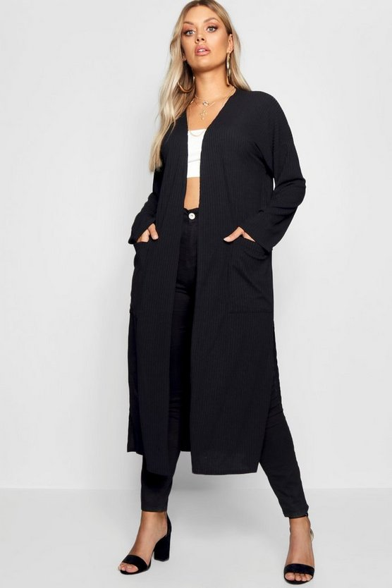 Womens Black Plus Rib Pocket Longline Cardigan