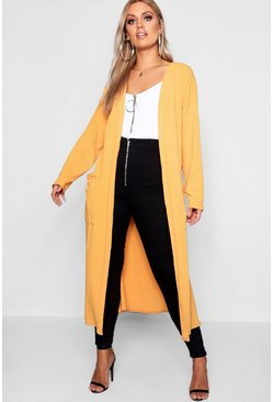 Mustard Plus Rib Pocket Longline Cardigan