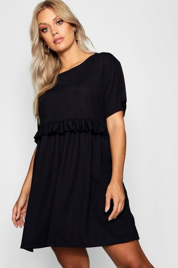 Womens Black Plus Ruffle Detail Smock Dress
