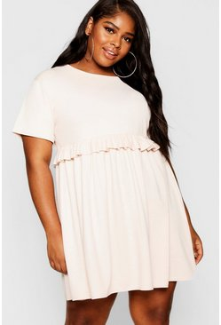 Womens Blush Plus Ruffle Detail Smock Dress