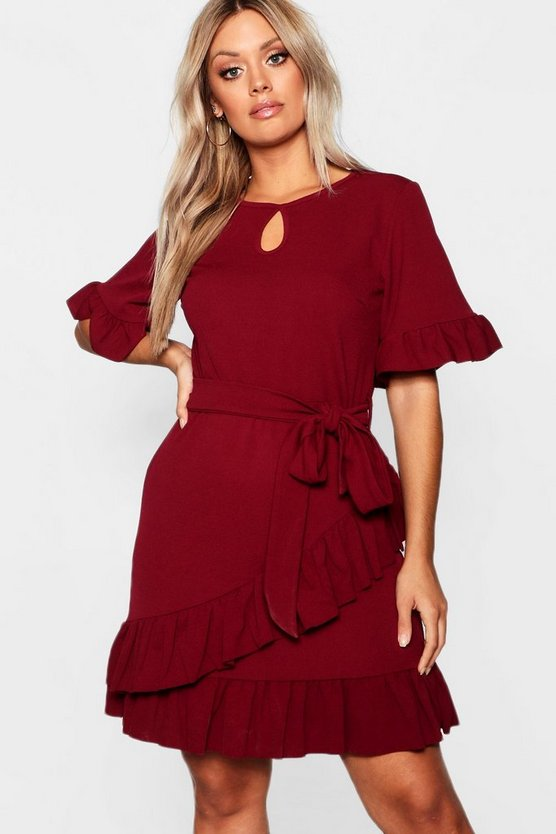 Womens Berry Plus Ruffle Wrap Skater Dress