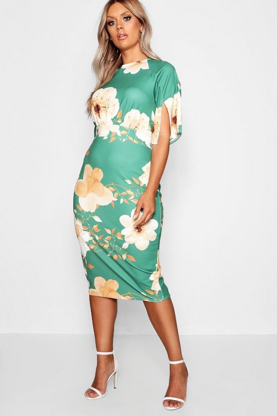 Green Plus Floral Split Sleeve Wiggle Dress