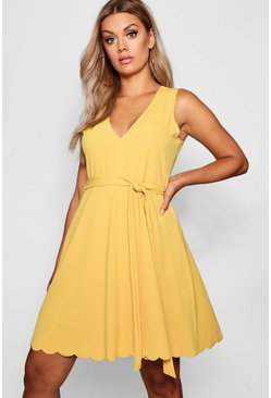 Mustard Plus Plunge Scalloped Hem Skater Dress