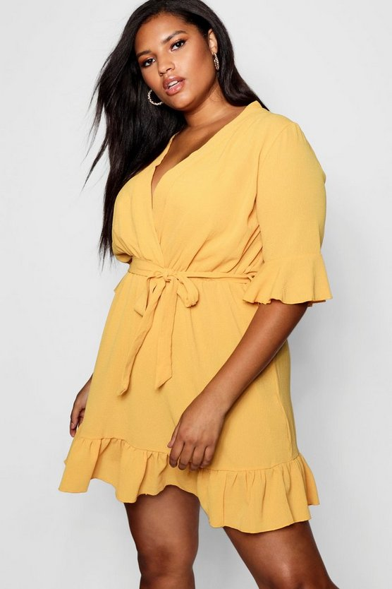 Plus Ruffle Hem Skater Dress