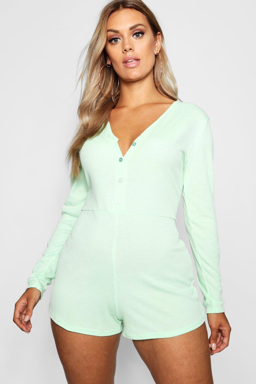 Plus acanalado detalle de pijama menta de Pelele botones con 0YvAw