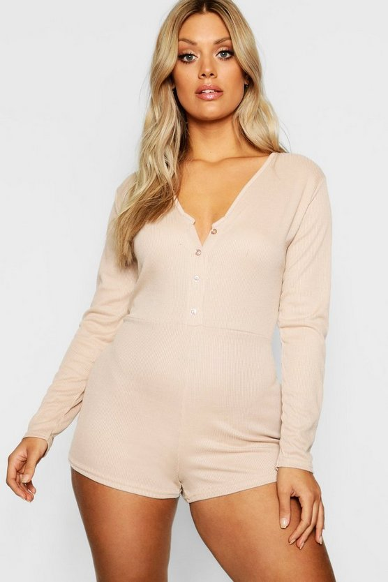Plus Ribbed Button Detail PJ Romper