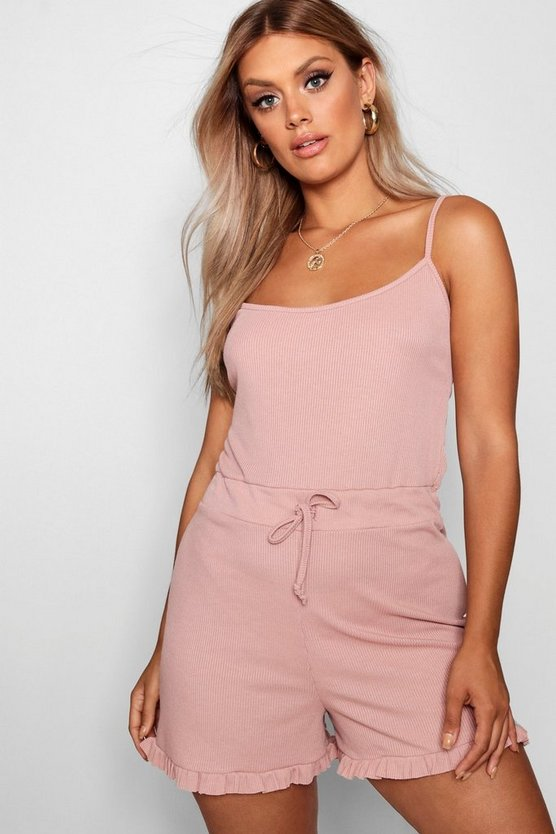 Womens Blush Plus Ruffle Hem Rib PJ Playsuit