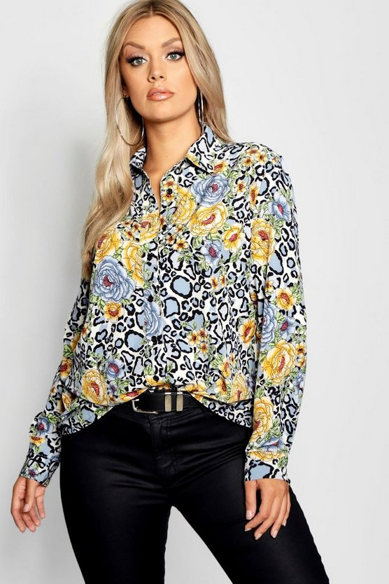 Plus Floral Oversized Woven Shirt