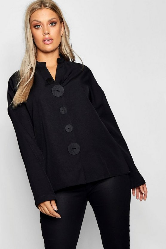 Plus Button Down Oversized Cotton Shirt