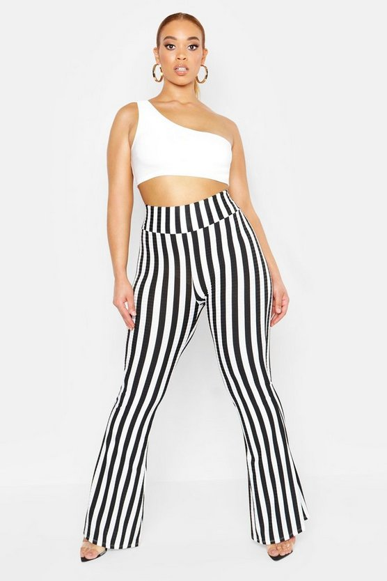 Womens Black Plus Rib Stripe Flared Trouser