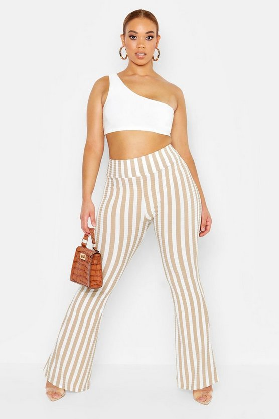 Plus Rib Stripe Flared Trouser