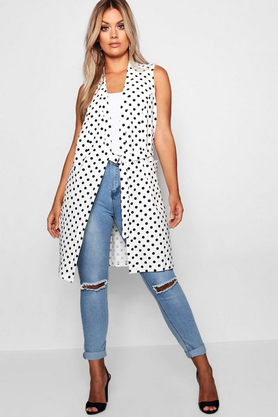 Plus Spot Buckle Sleeveless Duster