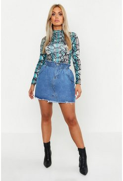Womens Mid blue Plus Paperbag Waist Denim Skirt
