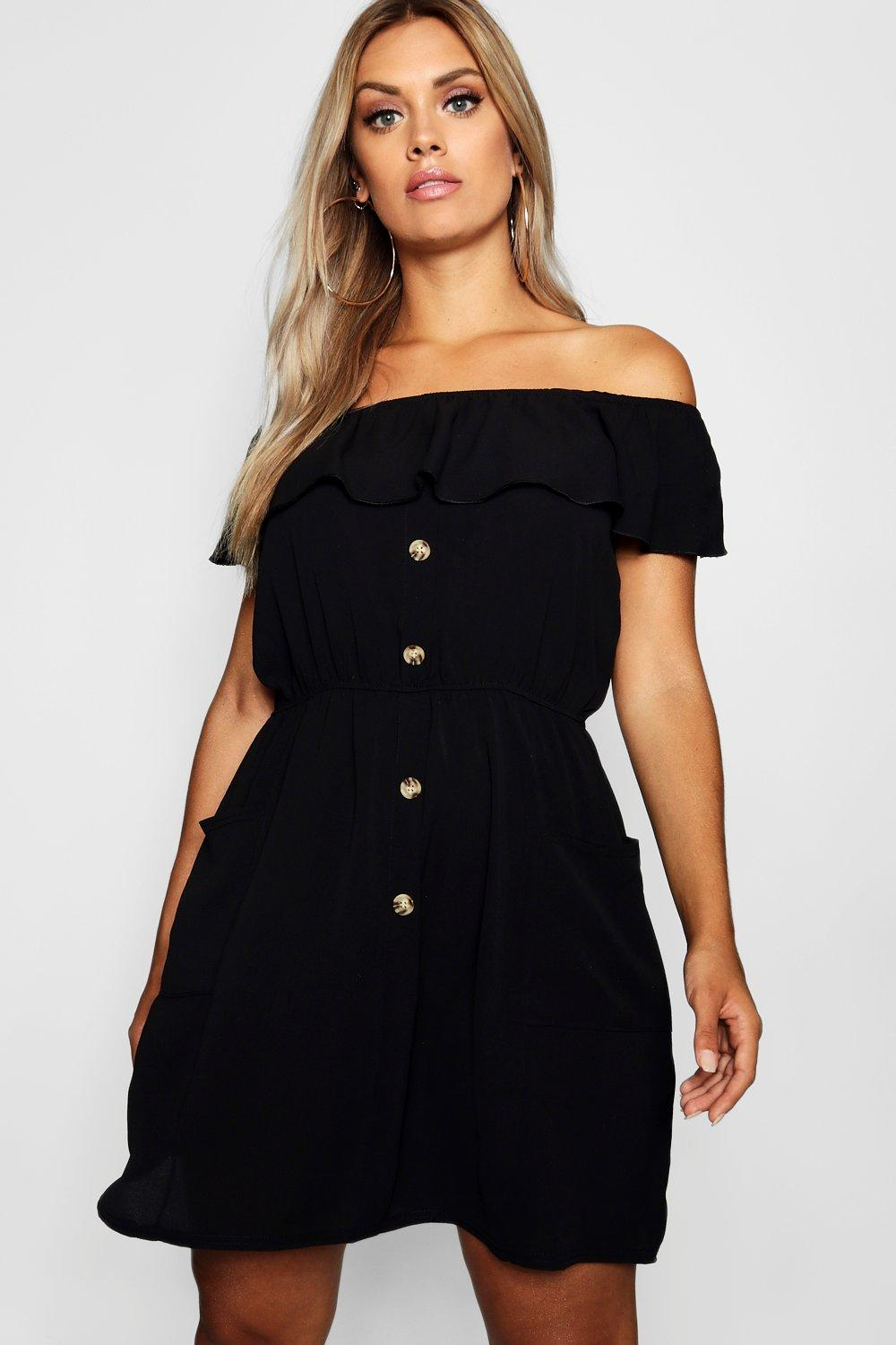 64cd90e989 Plus Horn Button Through Off Shoulder Dress. Hover to zoom
