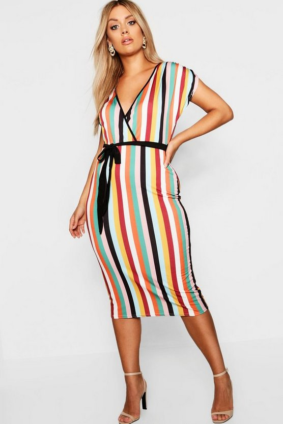 Plus Striped Wrap Dress