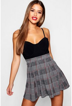Grey Petite Checked Box Pleat Skater Skirt