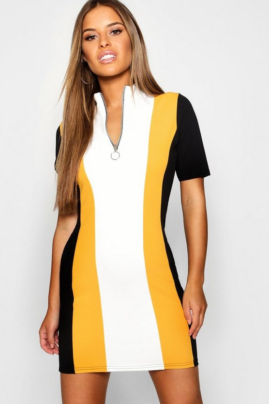 Petite Colour Block Zip Front Dress
