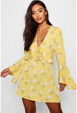 Womens Mustard Petite Floral Flare Sleeve Dress