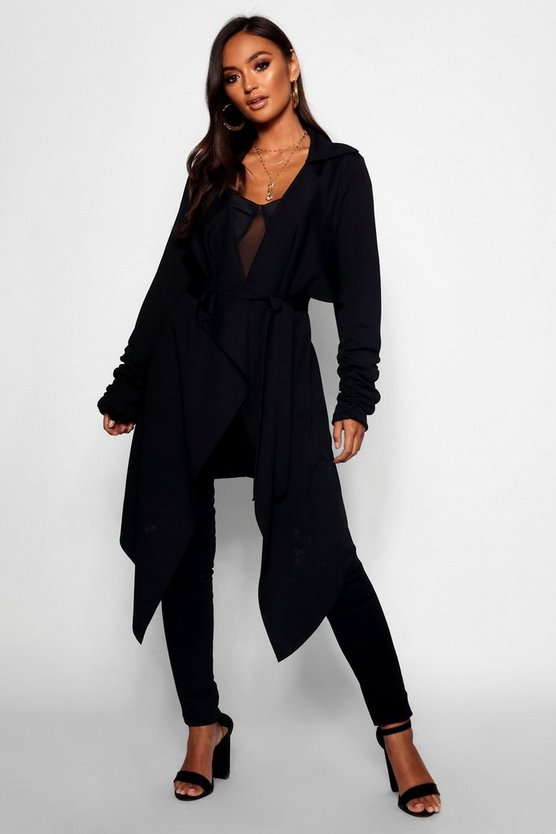 Black Petite Tie Belt Ruched Sleeve Duster