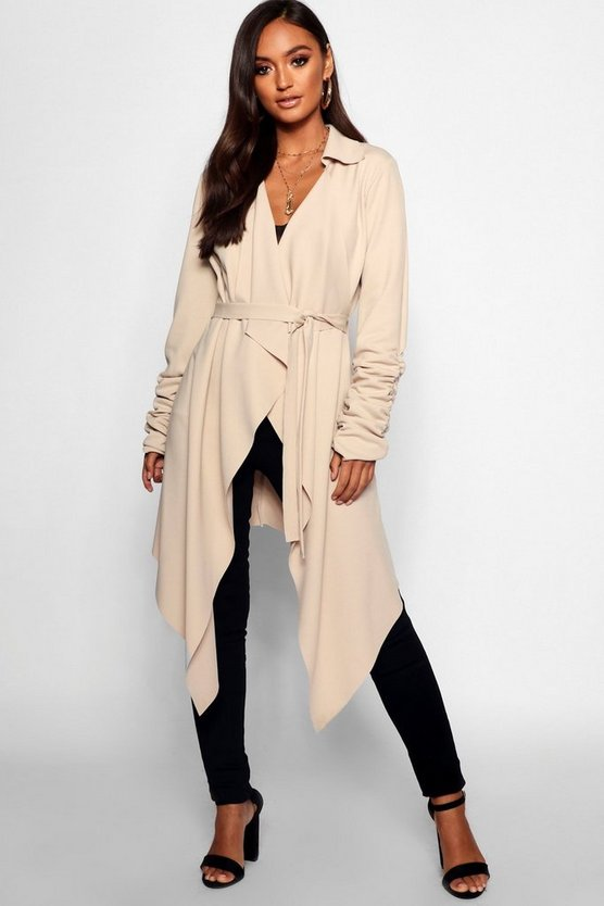 Petite Tie Belt Ruched Sleeve Duster