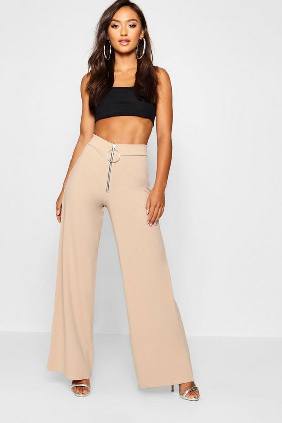 Petite Wide Let Zip Detail Trousers