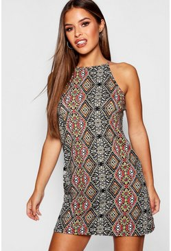 Womens Brown Petite Printed High Neck Shift Dress