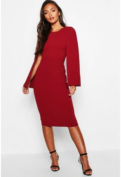 Berry Petite Cape Sleeve Midi Dress