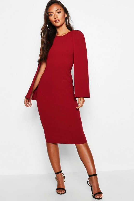 Womens Berry Petite Cape Sleeve Midi Dress