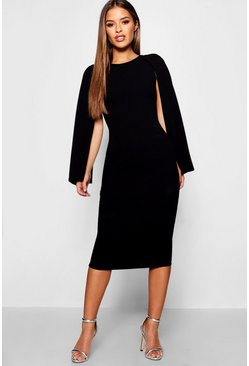 Black Petite Cape Sleeve Midi Dress