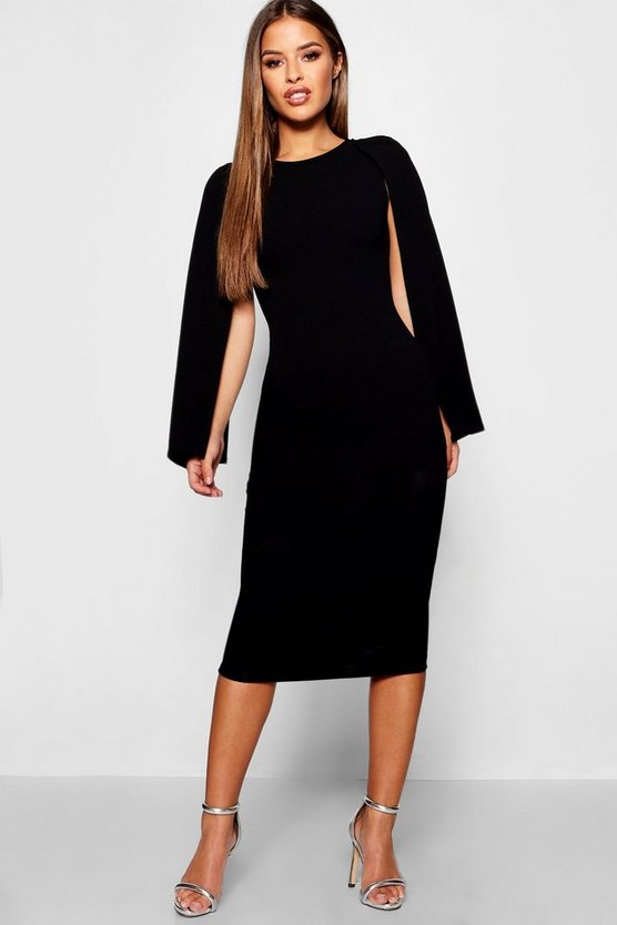 Womens Black Petite Cape Sleeve Midi Dress