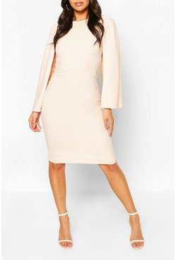 Blush Petite Cape Sleeve Midi Dress