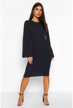 Navy Petite Cape Sleeve Midi Dress