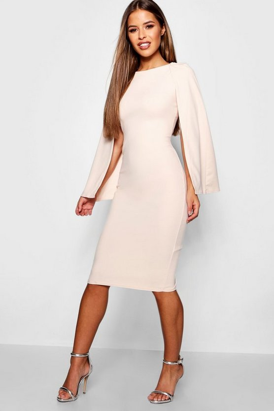 Womens Nude Petite Cape Sleeve Midi Dress