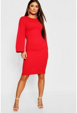 Womens Red Petite Cape Sleeve Midi Dress