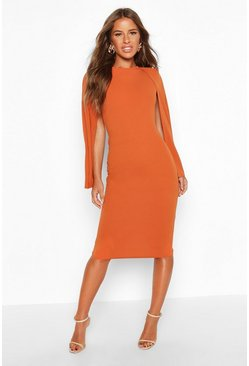 Womens Terracotta Petite Cape Sleeve Midi Dress