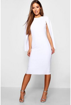Womens White Petite Cape Sleeve Midi Dress