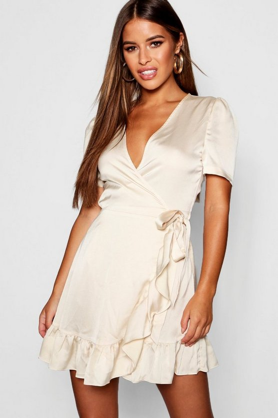 Petite Satin Wrap Over Frill Mini Dress