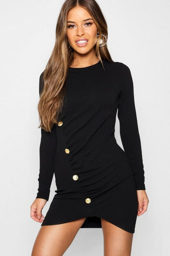 Womens Petite Military Button Detail Long Sleeve Midi Dress