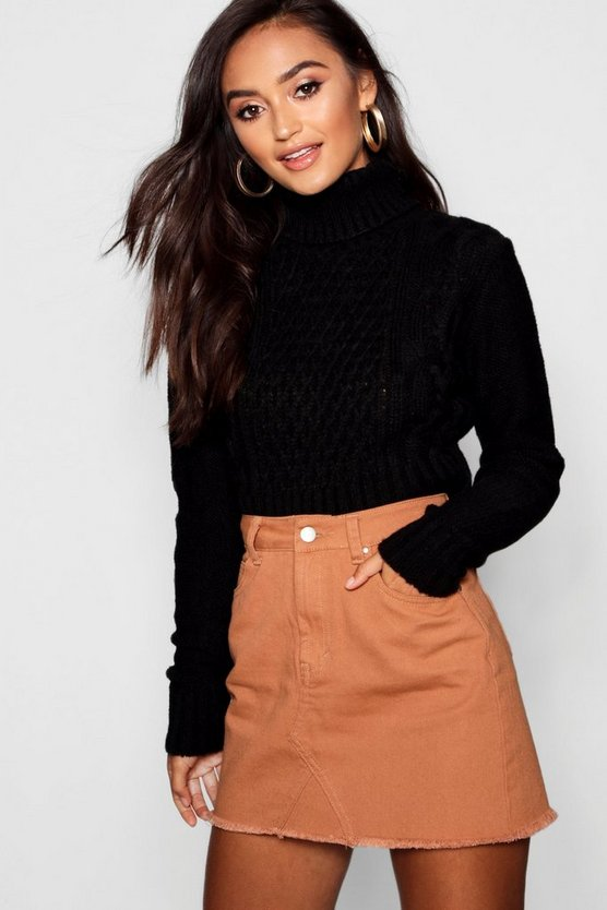 Womens Petite Roll Neck Cable Knit Crop Jumper