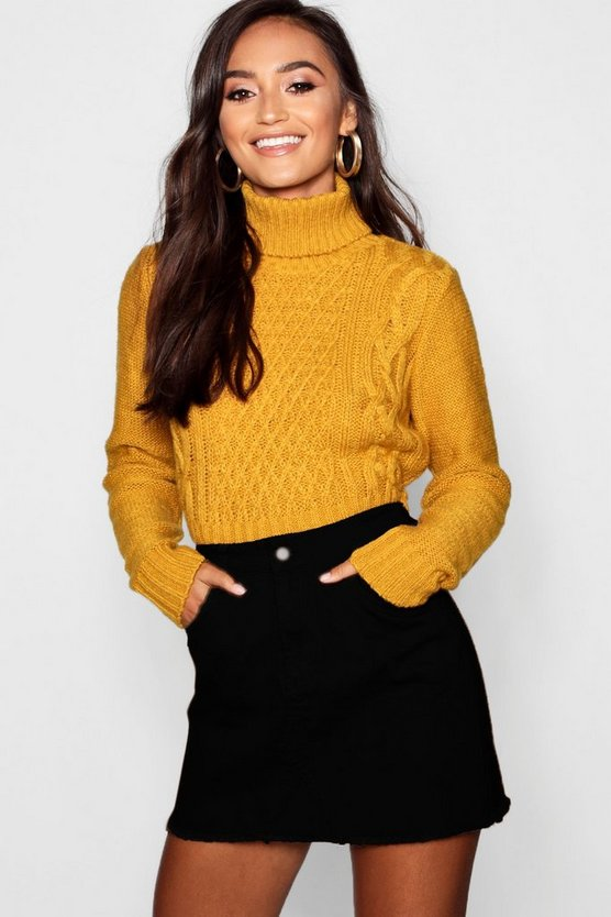 Womens Mustard Petite Roll Neck Cable Knit Crop Jumper