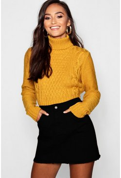 Womens Mustard Petite Roll Neck Cable Knit Crop Sweater