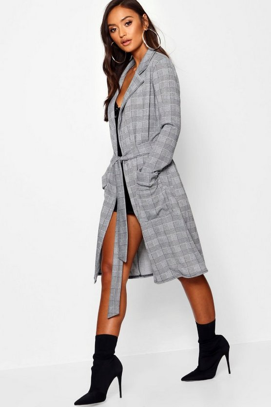 Womens Grey Petite Jacquard Dogtooth Check Duster