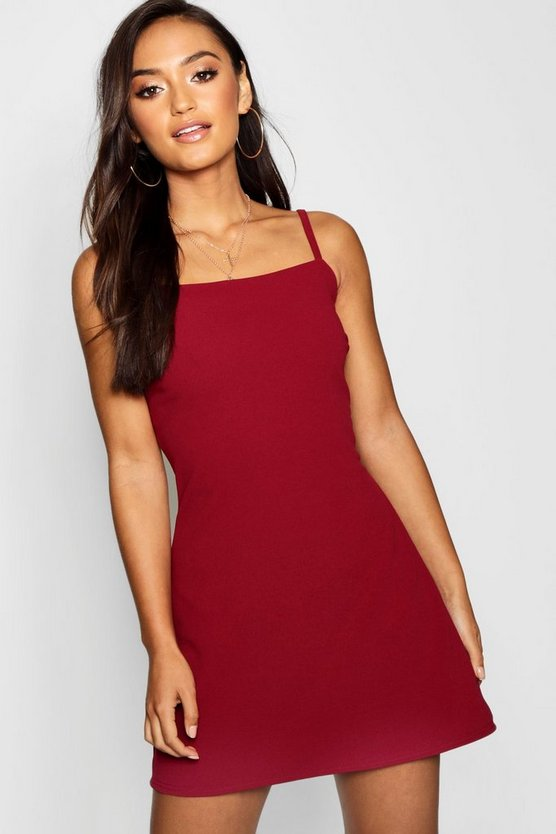 Petite Square Neck Strappy Mini Dress