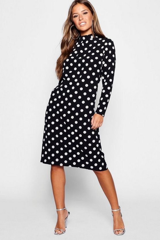Womens Black Petite Spot Print High Neck Midi Dress