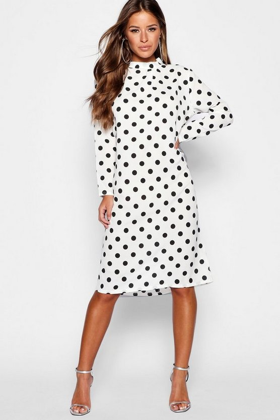 Petite Spot Print High Neck Midi Dress