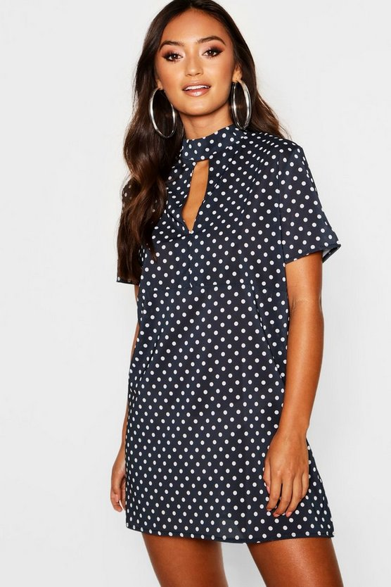 Petite Polka Dot High Neck Shift Dress