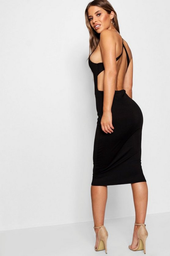 Womens Black Petite Cross Back Detail Midi Dress